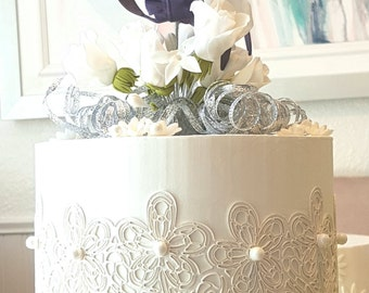 Beautiful Readymade Faux, Dummy, Fake Top Tier Wedding Cake - Plum Orchid, White Roses, Lacework