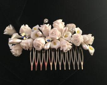 "Bridal Headpiece, Swarovski Crystal Bridal Hair Comb, White Ceramic Flower Lily Vintage Headpiece, the ""Christy"""