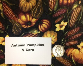 Autumn Pumpkins and Corn Fabric - 2 Yards