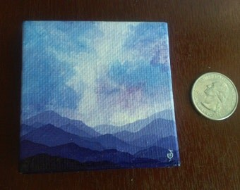 Miniature Canvas Painting - Mountains