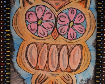 Day of the Dead Owl framed Painting