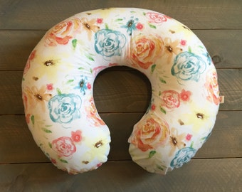Nursing Pillow Cover Floral Watercolor Roses for Boppy Pillow, Breastfeeding Pillow Slipcover Floral