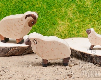 Waldorf Wooden Family Sheep SET,Lamb,Ram,Bio Toy,Farm,Animals, Zoo,Toys for Kids,Gifts,Partyfavors for Boys and Girls,Birthday present