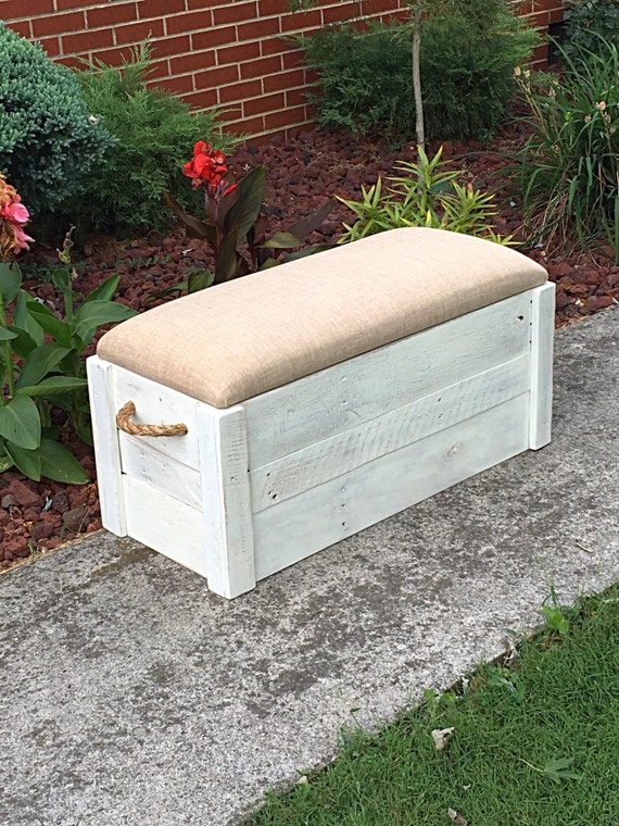 Distressed Foyer Bench : Hope chest toy box white distressed paint entryway bench