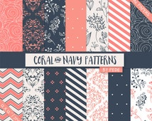 BUY 3 FOR 7 USD, Coral and navy digital paper pack, damask digital paper, roses digital paper, floral, polka dots, elegant paper, download