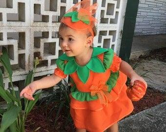 Pumpkin Costume, Pumpkin Dress, Pumpkin Outfit, Girls Cute Outfit, Orange Green Dress, Cute Outfit for Toddler Girl