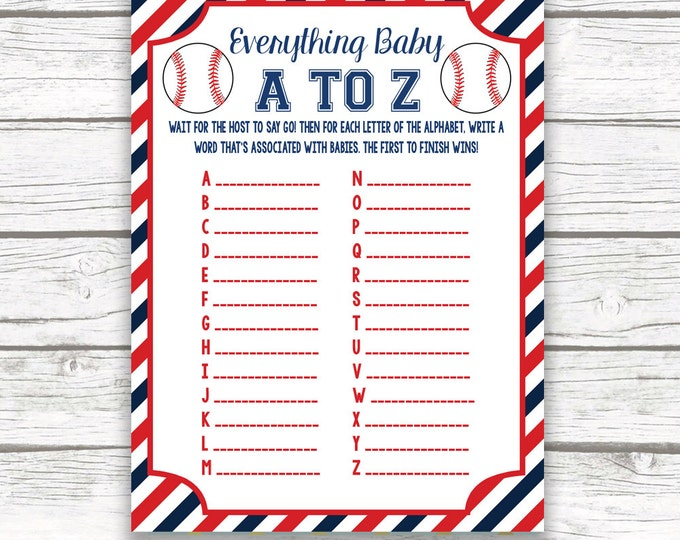 Baseball Baby Shower Game Everything Baby A to Z Card, Diagonal Printable Card, Sports Baby Shower, Baseball Games for Baby, Baby Boy Shower