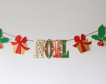 NOEL Christmas Banner, Glitter Holiday Banner, Red Green Gold Banner, Holly Leaves and Presents, Holiday Decor, Christmas Photo Prop