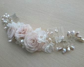 Bridal Hair Comb Wedding Hair Comb Pink Silk Flower Rose Bridal Hair Flower Comb Freshwater Pearl Comb