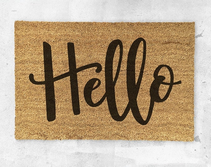 Hello Doormat- Hand Painted - Hello Door Mat