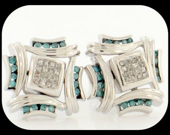 Fancy New Heavy 14K White Gold 0.50CT Cluster Blue & White Diamond Stud with Screw Back EARRINGS