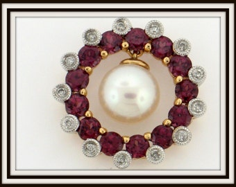 14K yellow gold PENDANT raspberry rhodolite garnet and akoya pearl & diamond