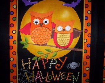 "Sale !! Happy Howloween Deb Strain Moda Fabrics 1 Panel cotton 23"" x 44"" Pumpkins Owls Orange Black"