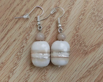 Cream drop earrings