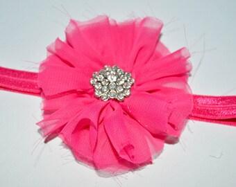 Chiffon flower headband, Chiffon flower, Chiffon headband, Rhinestone, Hair clip, Chiffon Hair Clip, Pink Chiffon, Pink headband, Pink