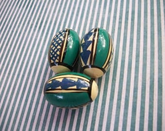 Vintage Wooden Hand Painted Beads - 3 Count