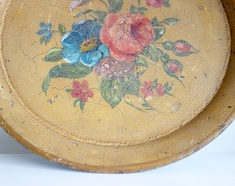 Antique French Toleware - Napoleon III period - Shabby Hand Painted Tray