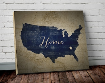 United States Wall Art state map wall art | etsy