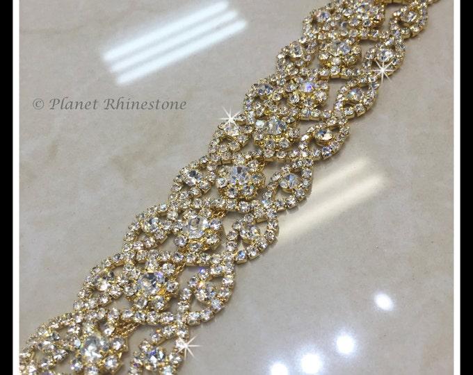 1 yard Bridal crystal trim (Silver, Gold, Rose Gold, AB, Black), Bridal sash, Bridesmaid belts. #0102