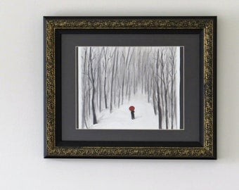 Original watercolor painting, Snow in winter, Lomly man walking in the snow