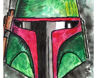 ORIGINAL Boba Fett Watercolor