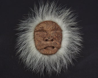 Coral Human Man Face Sculpture with Hair