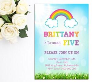 Rainbow Birthday Invitation - Rainbow Invitation - Printable Invitation - Rainbow Party - Girls Birthday Invitation - Personalized RB02