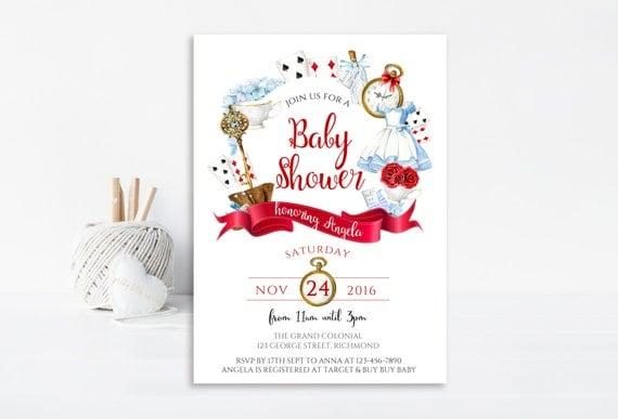 Alice In Wonderland Baby Shower Invitation