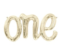 """ONE, Large 30"""" Gold Foil Balloon in Script, First Birthday, One Year Old, Number 1, Gold Number Balloon, Mylar Letters, Balloon Tassel, Gold"""