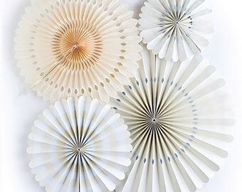 White Ivory Paper Fans, Pinwheel Backdrop, Paper Pinwheel Fans, Tissue Paper Fans, Christening Party Decor, Paper Rosettes, Paper Pinwheels