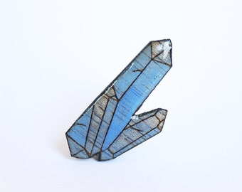 Blue crystal, gemstone pin, quartz brooch