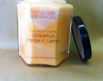 Hand Made Soy wax Jar Candle  Grapefruit, Orange and Lime.