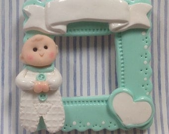 Polymer clay Baby Boy frame personalized ornament!