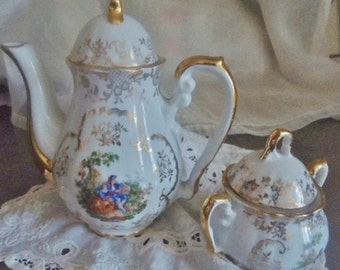 Coffee service Limoges, vintage 50's, French porcelain  set,French coffee pot
