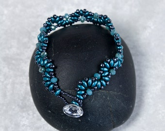Teal Wavy Bracelet, Beaded Bracelet, Teal and Hematite, Button and Loop Closure, Super Duo Bracelet,