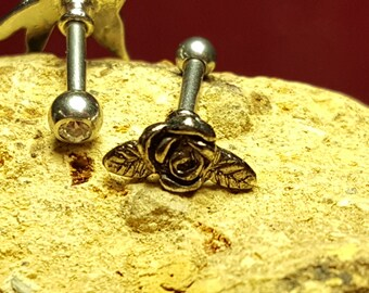 "Tragus Cartilage Forward Helix Lobe 16g 1/4"" Beautiful Victorian Rose Piercing Bar Barbell Surgical Steel"