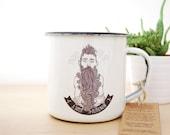 Enamel Mug BLUE BEARDED MAN Proud to be... Collection / Eco-friendly Mug / Camping Mug / Steel Mug