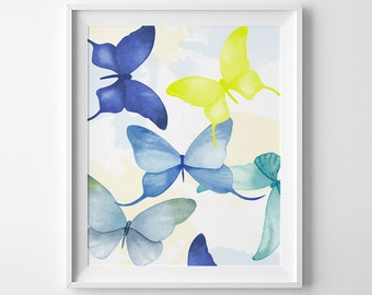 wall art printable butterflies watercolor lime butterfly print diy wall art - Blue Wall Decor