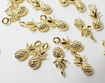 P0392/Anti-Tarnished Gold Plating Over Brass/Mini Pineapple Pendant/5 X 11.3mm/2pcs