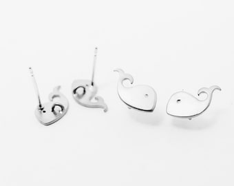 E0084/Anti-Tarnished Matte Rhodium Plating Over Brass+Sterling Silver Post/Whale Earrings/12 x 6mm/1 Pair