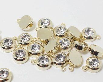 P0429/Anti-tarnished Gold Plating Over Brass /Bazel Cubic Zirconia Pendant/10x8mm/4pcs