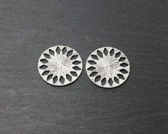 P0172/Anti-Tarnished Matte Rhodium Plating Over Brass/Patterned Circle Connector/19x 19mm/2pcs