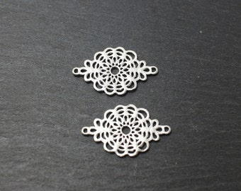 P0180/Anti-Tarnished Matte Rhodium Plating Over Brass/Paisly motivated Connector/26x15 mm/4pcs