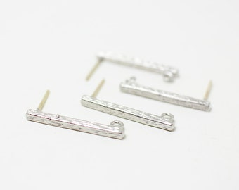E0017/Anti-tarnished Matt Rhodium Plating Over Brass+Sterling Silver Post/Bar Earrings/2x22mm/2pcs