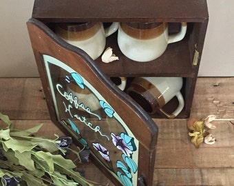 Rare Stained Glass Door Wall Cabinet / Vintage Kitchen Wall Cabinet / Coffee Storage