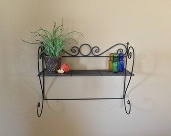 Vintage Metal Wall Shelf / Vintage Wall Shelf / Kitchen Wall Shelf / Plant Shelf