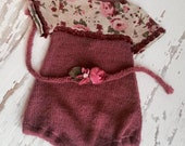 Newborn Romper Set, Baby Girl,Knitted, Newborn Clothing, Flowers, , Headband, Accessories, Photography Prop