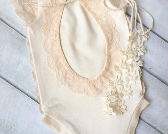 Cod243Newborn Lace Romper, baby bloomer,baby , baby tie back, baby jumper, baby girl, romper, newborn clothing, photography prop