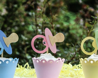 Pacifier Cupcake Toppers Set of 8
