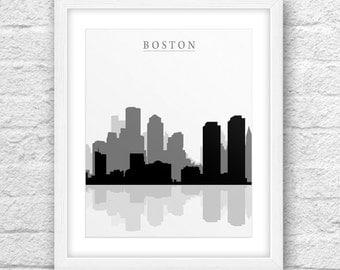 Boston City, Boston Printable, Boston Art, Boston Skyline, Wall Art, Minimal Design, Minimalist Art, Boston ,Instant Download